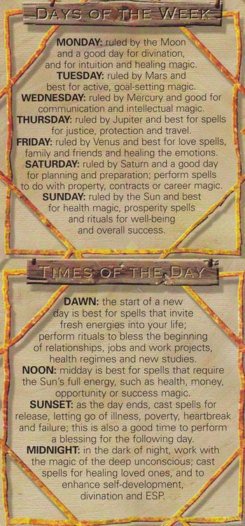 Days of the Week ~ Times of the Day - Pinned by The Mystic's Emporium on Etsy