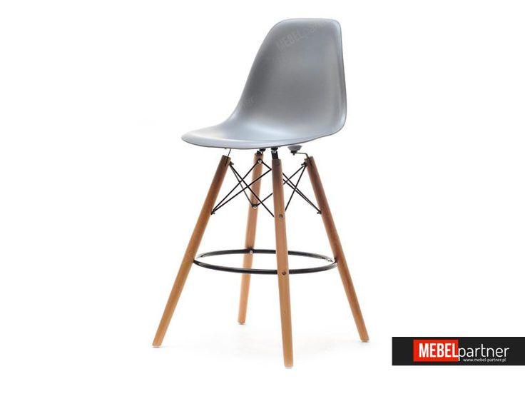 Krzesło barowe EPS WOOD 1 szare - Mebel-Partner.pl