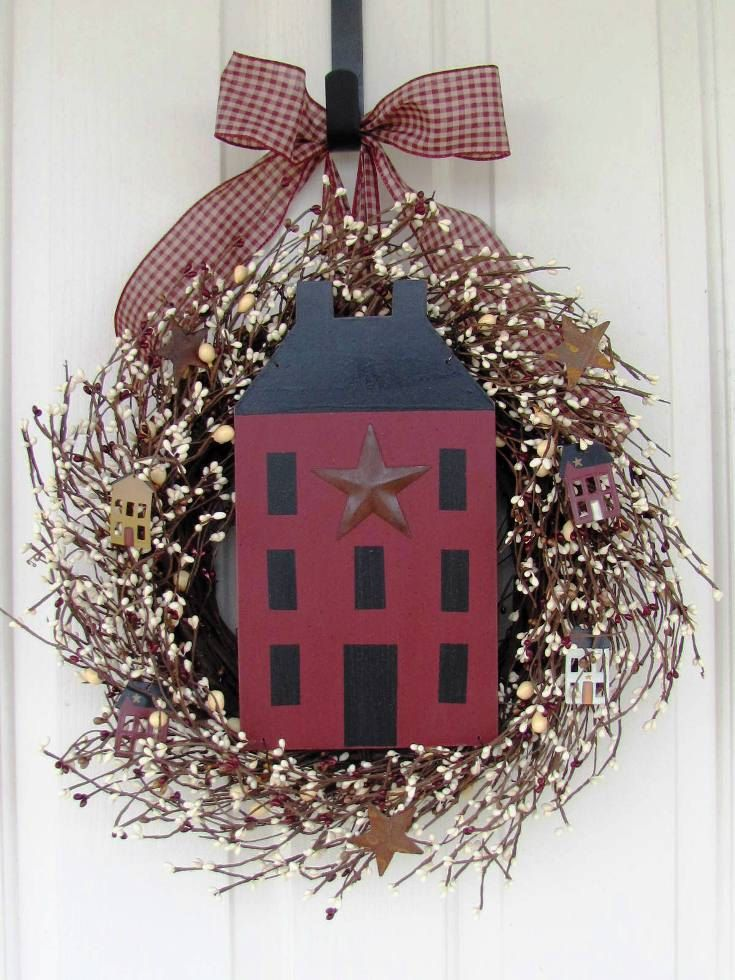 Wreath Primitive Wreath Primitive Country Home By Designawreath On