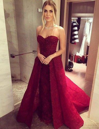 Fashion Prom Dress Sweetheart Prom Dress Sheath Prom Dress Burgundy Prom Dress with Detachable Train Beaded