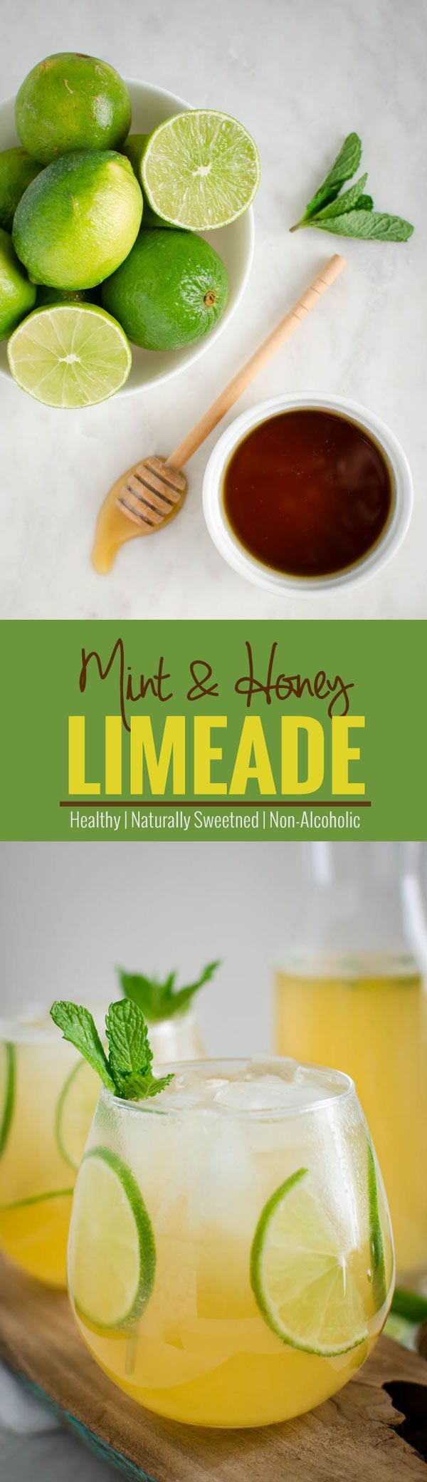 This refreshing sweet & tangy homemade limeade is a classic drink to enjoy any time of the year. Healthy, naturally sweetened & perfect for weight watchers. | watchwhatueat.com
