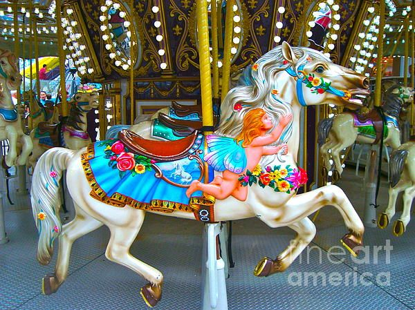 Merry go Round Horse 1 Print by Denise Haddock