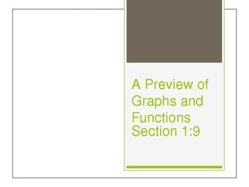 This PowerPoint is based off of the Glencoe Algebra 1 textbook, chapter 1 section 9. This PowerPoint covers horizontal axis, vertical axis, origin, what a function is, how to graph ordered pairs, and independent and dependent variables.
