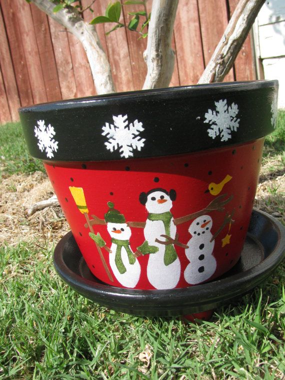 Snowman Flower Pot by bubee on Etsy, $20.00