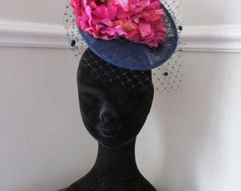 Navy Fascinator - Navy and Magenta Flower Fascinator - Racing hat - Ladies Day Hat - Edit Listing - Etsy