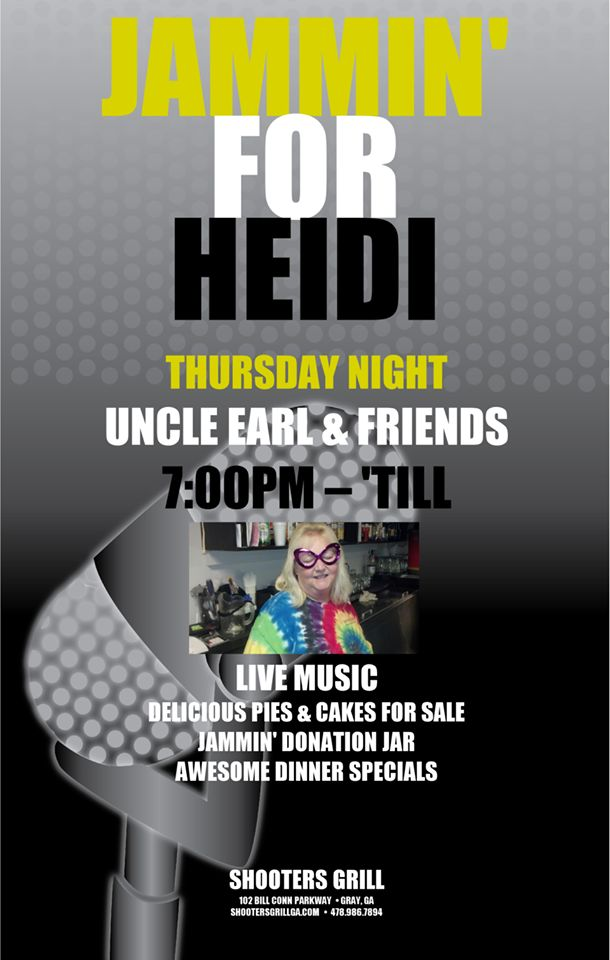 This Thursday..A Very Special Night with UNCLE EARL & FRIENDS- We're JAMMING AT Shooters Grill for Heidi Meldrim! She is a very special Lady to all of us and has had a lengthy hospital stay and unable to return to work….SO, we're gonna Rock & Raise $$ for Heidi this Thursday! YOU DONT WANT TO MISS IT!!!