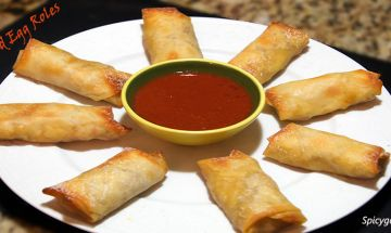 Finally!!! A healthy option for traditional egg rolls.  BAKE THEM!  Delicious Baked Egg Rolls Recipe | Spicygal.com #Healthy #EggRolls #Asian