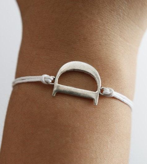 Letter D silver bracelet white wax cord bracelet in by kahdtfggeg, $1.79