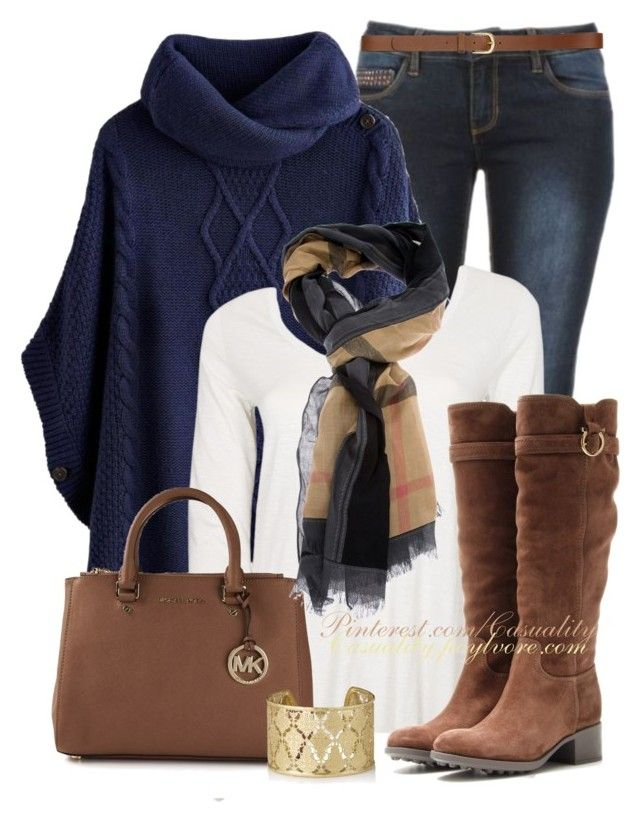 """""""Burberry Haymarket & Navy Poncho Sweater"""" by casuality ❤ liked on Polyvore featuring Joules, American Vintage, Salvatore Ferragamo, MICHAEL Michael Kors, Burberry, H&M and Shyla"""