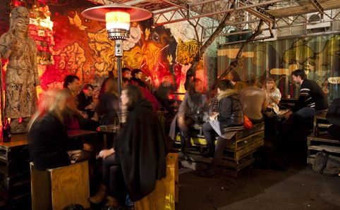 Section 8. One of Melbourne's hippest bars, does great hot dogs including vegan ones.