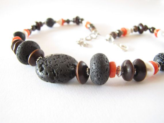 Vulcanic Beaded Necklace Handmade Jewelry by MyEthnicJewelry, $35.00