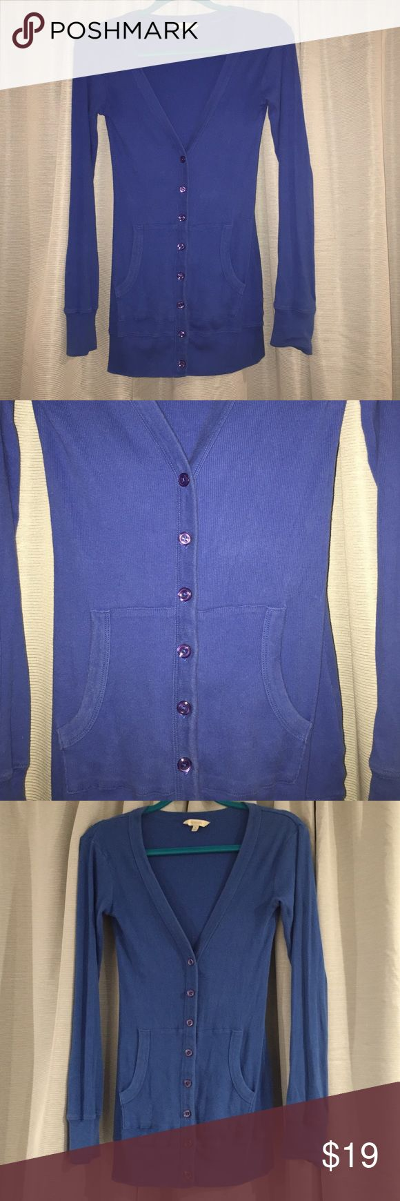 Royal Blue Cardigan Royal Blue Ribbed Cotton Cardigan with Buttons and Front Pockets. Has been worn many times but material still in good position. Rubbish Sweaters Cardigans