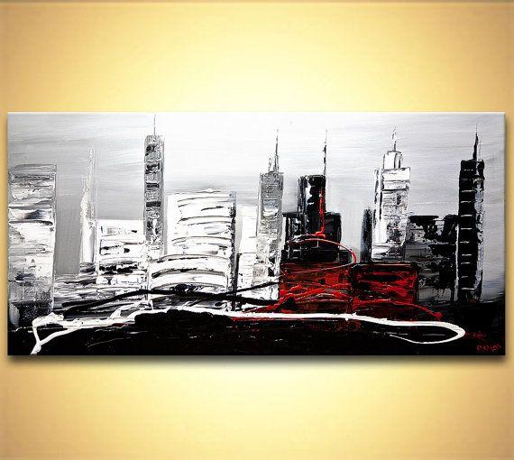"""Couteau à palette moderne ville abstraite peinture noir, blanc, gris, rouge acrylique peinture originale contemporaine par OSNAT 48 """"x 24"""""""