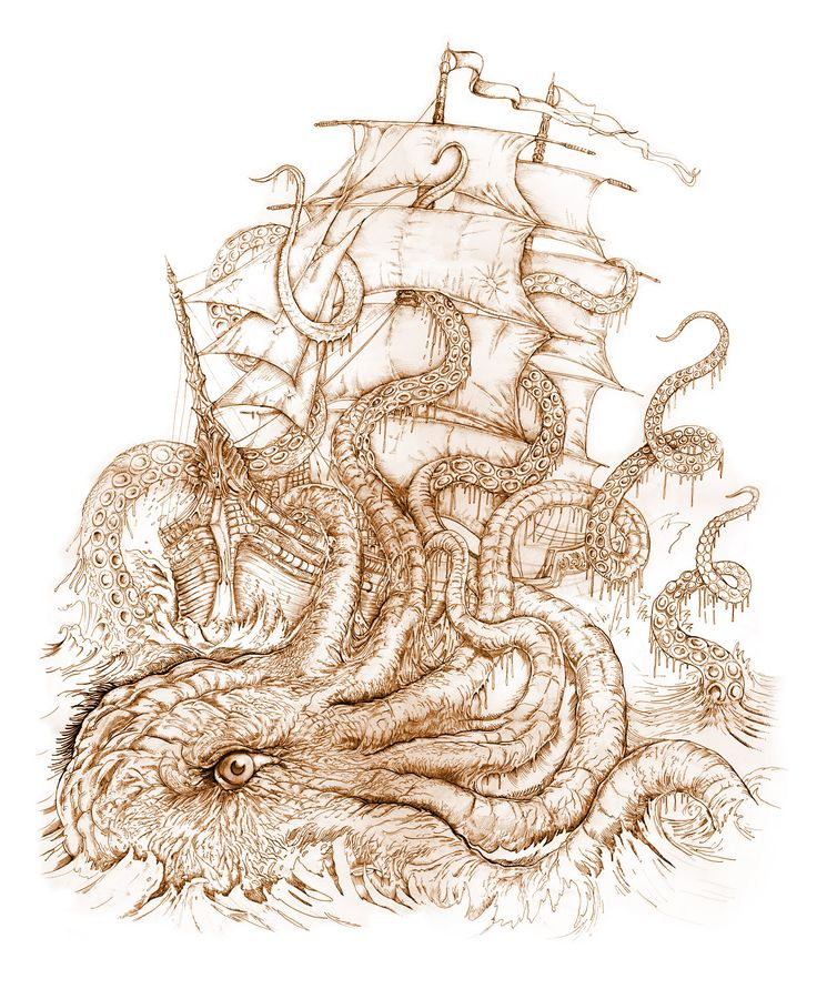 Octopus Shipwreck Drawing 31 best Nautica...