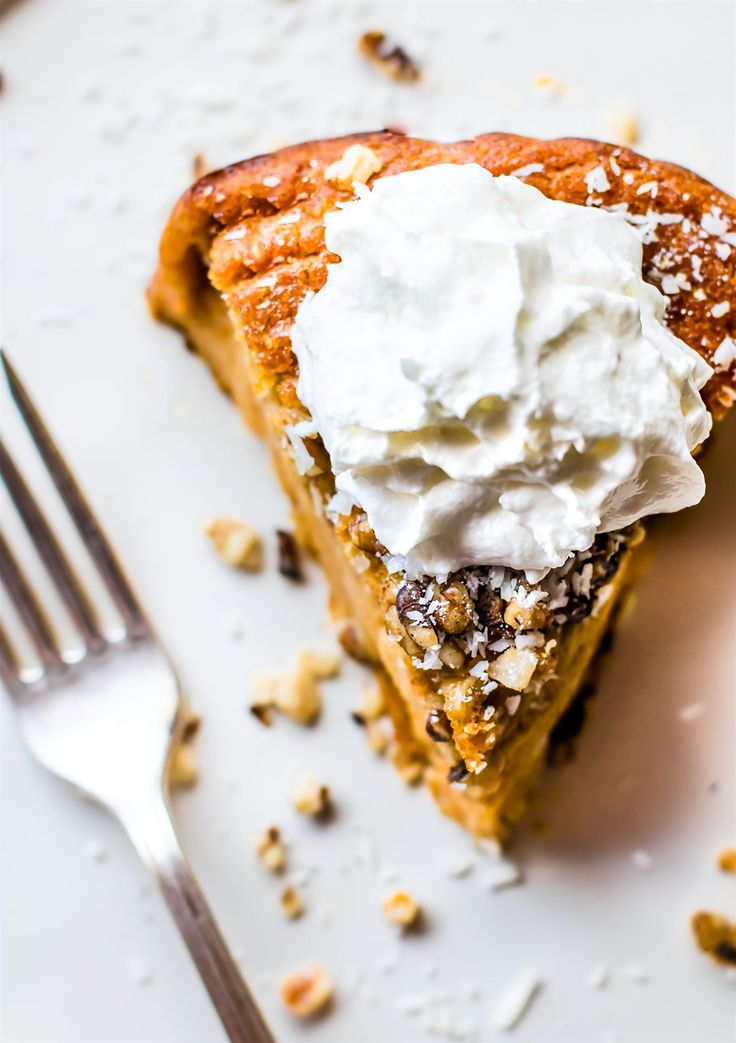 Impossibly EASY Paleo Sweet Potato Pie with coconut! A healthy Paleo sweet potato pie recipe IMPOSSIBLE to mess up! Easy to follow with simple ingredients.