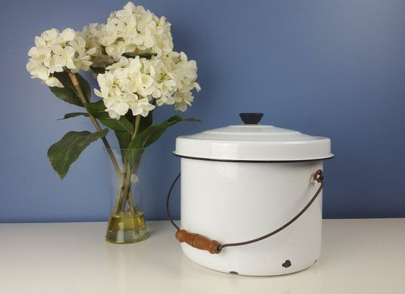 Vintage Extra Large White Enamel Stockpot Black Rim by CurioBoxx
