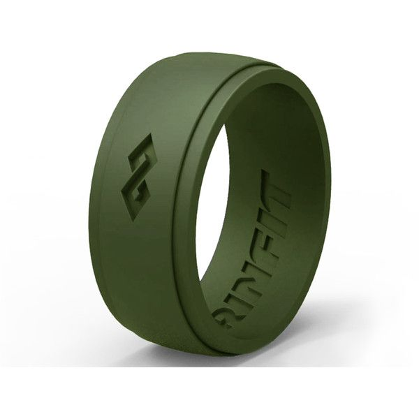 Men's Silicone Ring - Wedding Band For Men by RINFIT ($9.49) ❤ liked on Polyvore featuring men's fashion, men's jewelry, men's rings, green, jewelry & watches, rings, mens diamond band wedding ring, mens green ring, green lantern mens wedding ring and mens rings