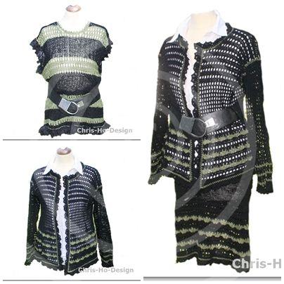 Miks og match! Topp, jakke og skjørt i mose og svart. Str. 36 - 42. One size.