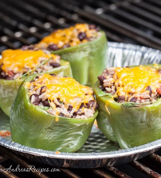 Grilled Mexican Stuffed Bell Peppers - Andrea Meyers