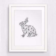 Origami Geometrische Konijnen canvas foto, jungle wilde dieren schilderen, niet olieverf, geen kader(China (Mainland))