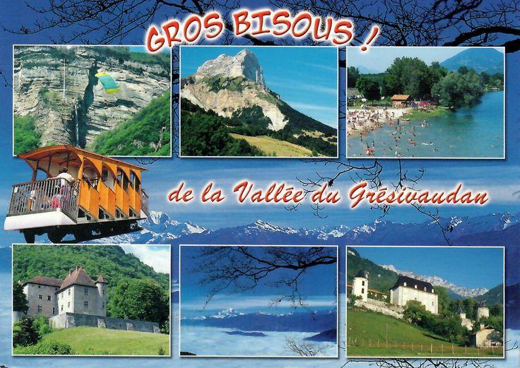 Postcard from France ~ Gros Bisous! de la Vallee du Gresivaudan ~ Images de France...Isere ~ 1. La Terrasse, Chateau du Carre 2. la Dent de Crolles (2062 m.) 3. Chateau du Touvet 4. Lumbin, site de parapente 5. Chaine de Belledonna 6. Lac de la Terrasse Photos:  Hemon, Ranea www.postcrossing.com