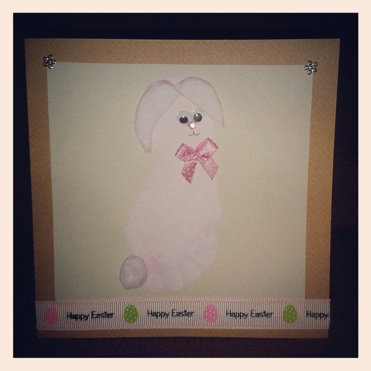 Easter bunny rabbit footprint card