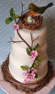 Birds & nest on cake