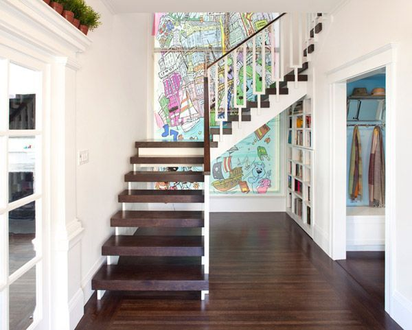 a secret bookcase door under the stairs cleverly hidden from everyone