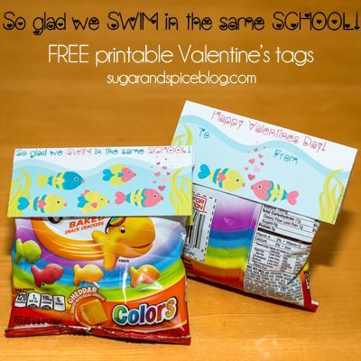 """FREE printable Valentine's Day tags for goldfish crackers. """"So glad we SWIM in the same SCHOOL!"""" So cute, easy, and NOT candy!"""