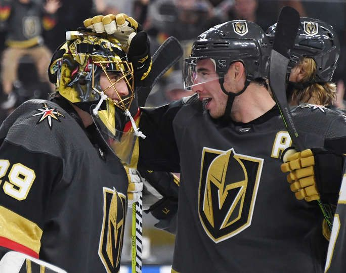Las Vegas Nevada September 28 Marc Andre Fleury L 29 And Reilly Smith 19 Of The Vegas Golden Golden Knights Hockey Vegas Golden Knights Golden Knights