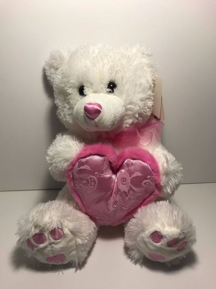 white plush teddy bear with pink heart Love Bear #walmart