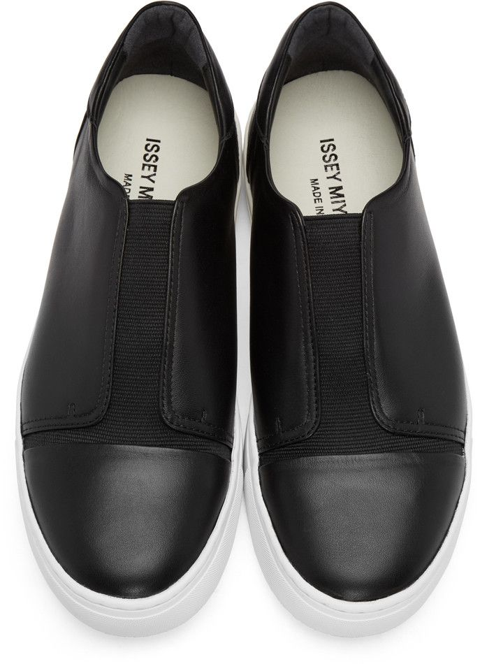 Issey Miyake Men - Black Leather Slip-On Sneakers | MEN'S ...