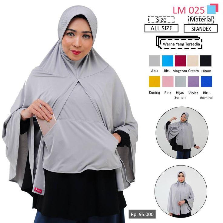 LM 025 Lamia Hijab - Kerudung Bergo Syar'i bahan kualitas premium, nyaman dipakai dan anti gerah. Material : Spandex. Size : All Size. #lamiahijab #hijabindonesia #kerudunginstan #bergo