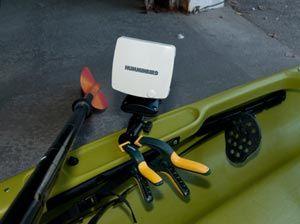 Fish finder mounted to a kayak
