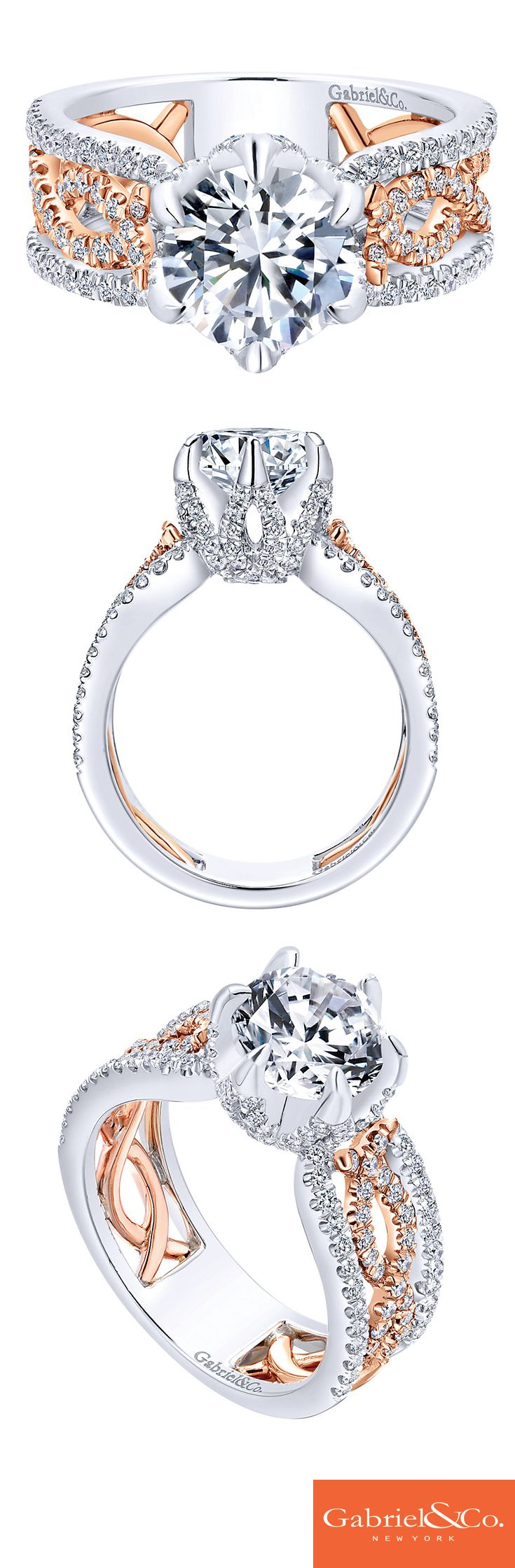 A Queen deserves a regal and elegant engagement ring. This 18k white and rose gold contemporary diamond criss cross engagement ring will make any bride-to-be feel like royalty. Find this and more at Kenny G & Company Fine Jewelers, www.kennygandcompanyfinejewelers.com, #kennygandco #gabrielandco