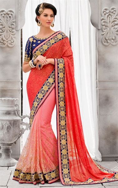 Splendorous Salmon and Red Wedding Saree