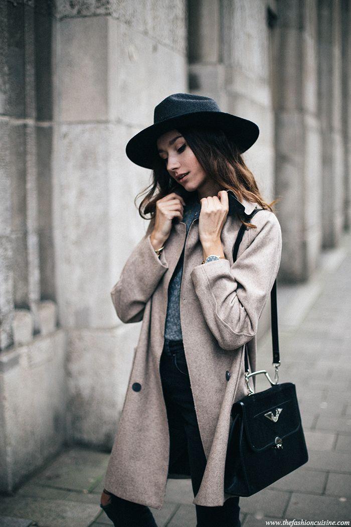 Brixton Tara fedora hat and oatmeal coat minimal outfit