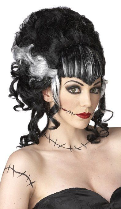 Amazon Com Monsters Mistress Wig Black White Accessory