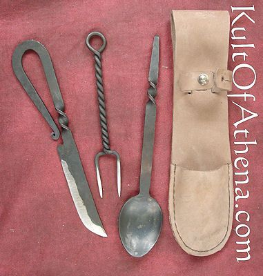 Hand Forged Stainless Steel Eating Cutlery Set - Knife, Fork, Spoon and Leather sheath. - SNAC8405 - $24.95