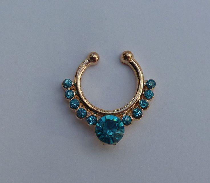 Gold Fake septum ring, gold fake nose ring, gold crystal septum nose ring, crystal fake nose ring, fake nose ring, fake septum ring, G21
