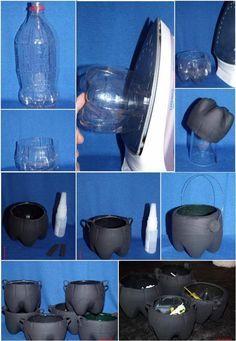 Aprenda a fazer pequenos caldeirões feitos com garrafas pet, para encher de guloseimas na próxima festa de halloween. Veja o passo a passo com explicações detalhadas no site abaixo: http://criacoesartesanato.blogspot.com.br/2012/07/caldeirao-da-bruxaaa.html