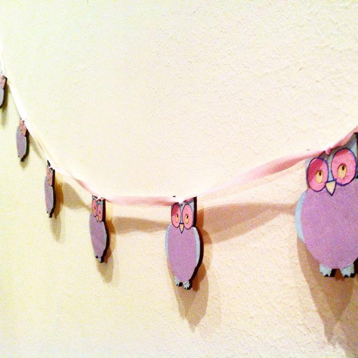 Hand painted owl garland http://ladiy.cafeblog.hu/ #garland #nurserydecor #decor #diy #interior #kidsdecor #pastels