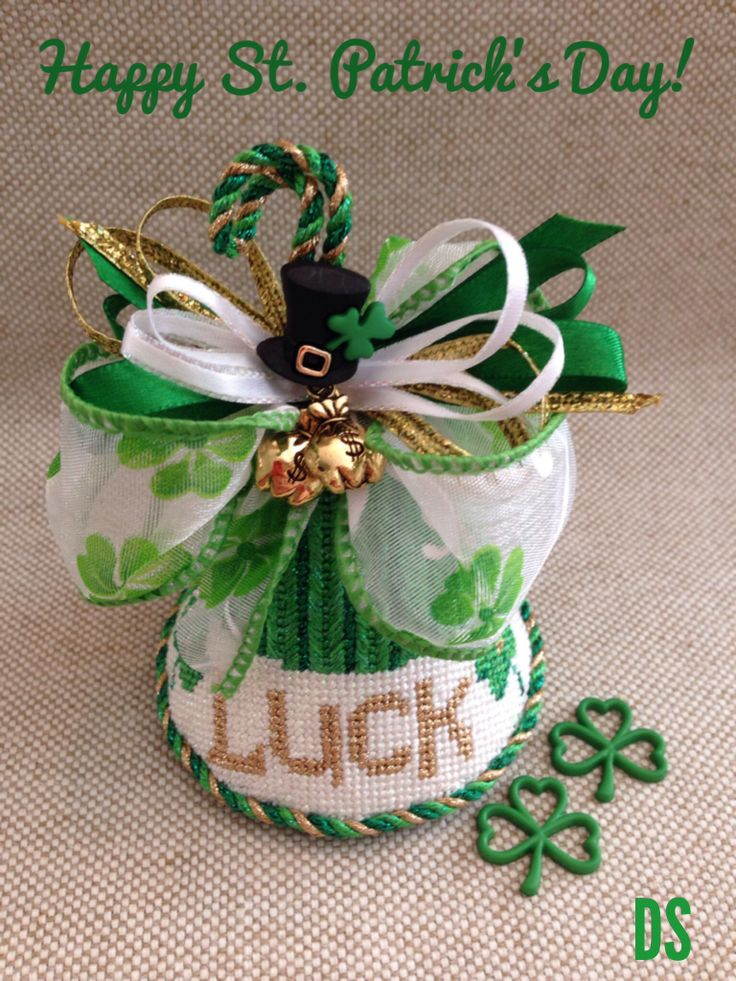March Greeting, St. Patrick's Day Kiss, Barbara Bergston needlepoint design