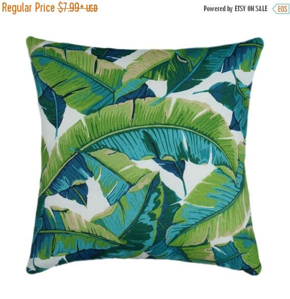 SALE Green Outdoor Pillow, Tropical Palm Leaves Pillow, Turquoise Pillows,  Lime Green Outdoor