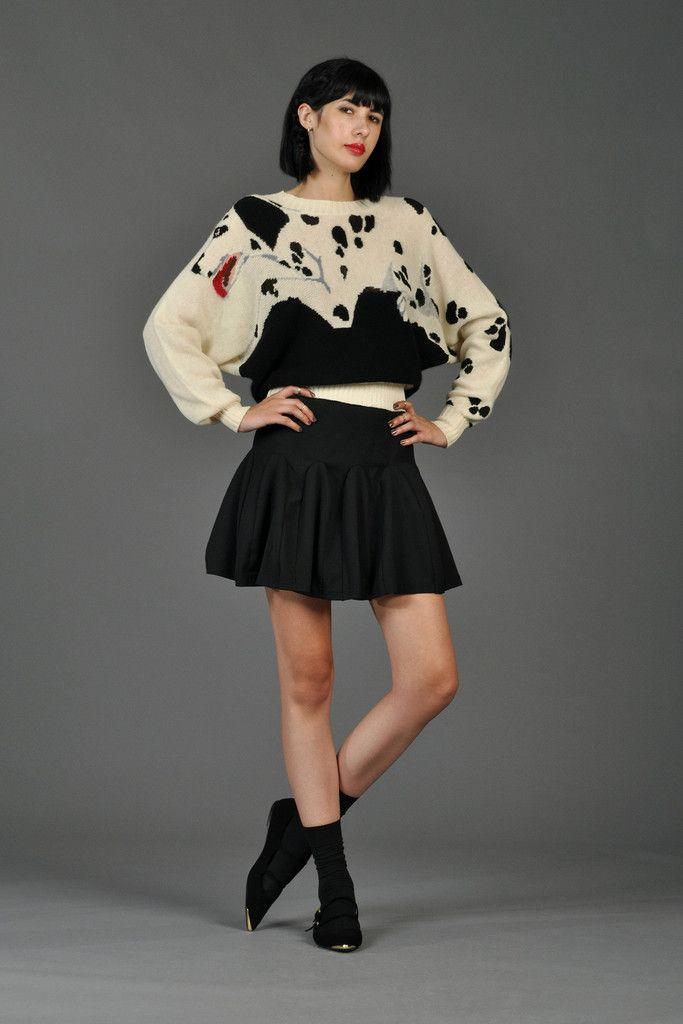 Krizia Black + White Dalmatian Sweater | BUSTOWN MODERN