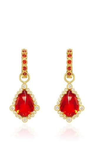 One of a kind fire opal pear shape drops and large bezel huggie in red sapphire by ERICA COURTNEY Preorder Now on Moda Operandi