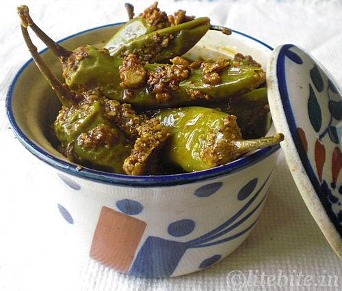 Indian Pickle Recipes – Green Chili Pepper with Chickpea Flour and Spices by @Sanjeeta at Lite Bite