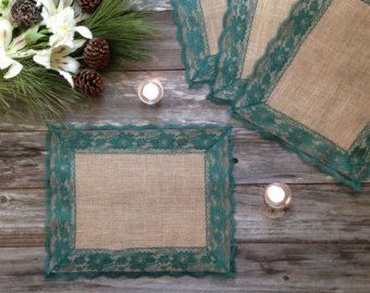 Rustic Placemats  Burlap and ROYAL BLUE Lace by DawnWeddingDesigns