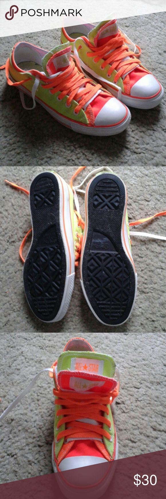Neon Converse All Stars Bright orange/green neon. Double tongued. Good condition. Womens sz 9 or mens 7. Made in China Converse Shoes Sneakers