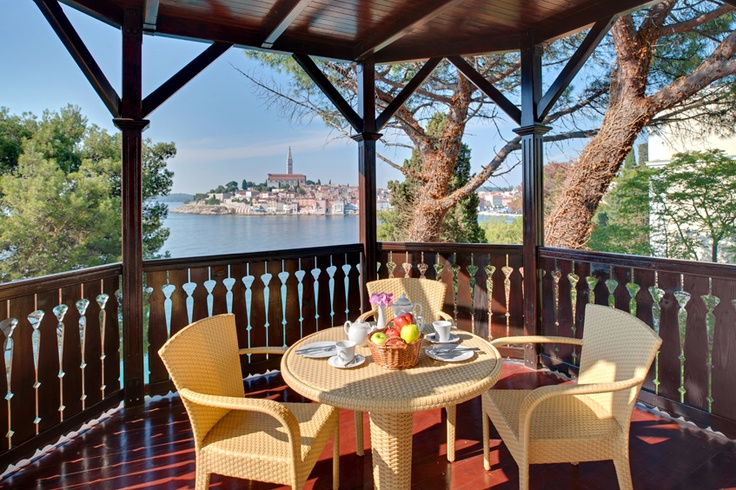 The hotel is located on the island of St. Catherine opposite Rovinj.    More info http://www.maistra.com/Accommodation/Hotels/Katarina_Rovinj
